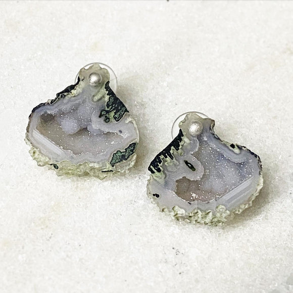 Premium Tabasco Geode Pair on Hand-Forged Silver Studs & Hooks