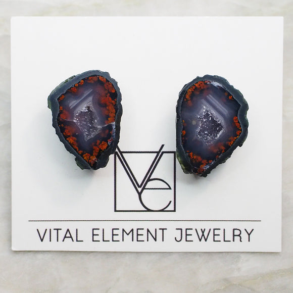 Fire Tabasco Geode Pair Stud Earrings (Small) :: #0025 [Rare]