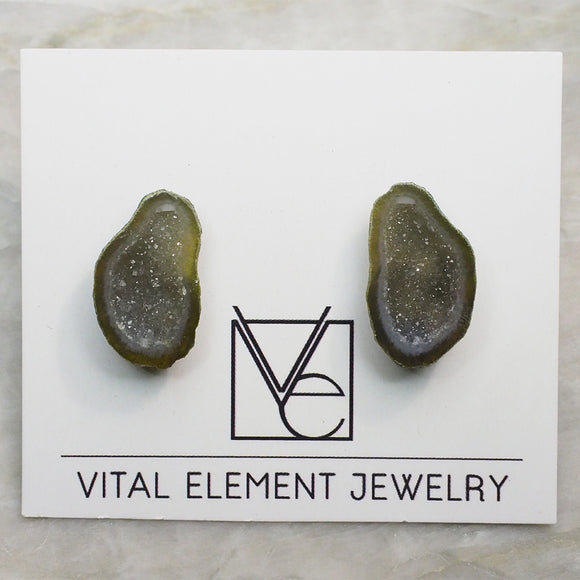 Green Tabasco Geode Pair Stud Earrings (Small) :: #0028