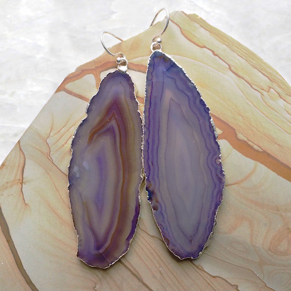 Agate Slice Earrings :: #113