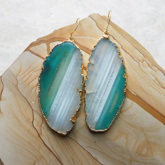 Agate Slice Earrings :: #110
