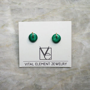 Malachite Stud Earrings :: Made To Order