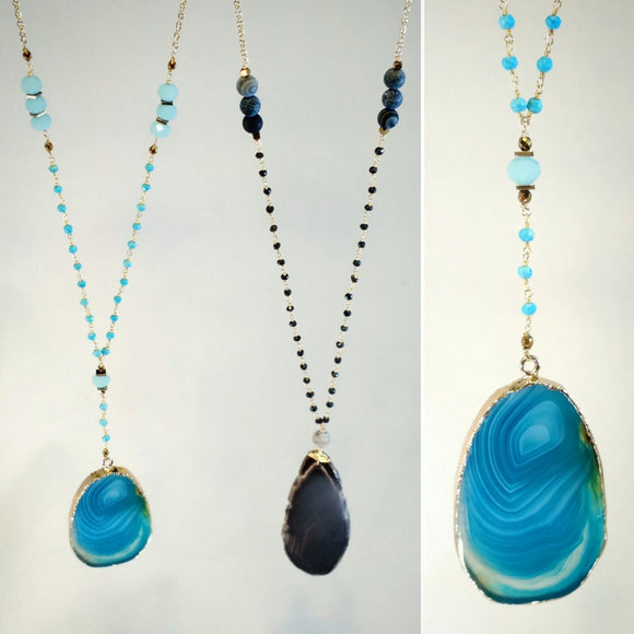 Y-Style and V-Style Rosary and Chain Necklaces with Agate Slice Pendants