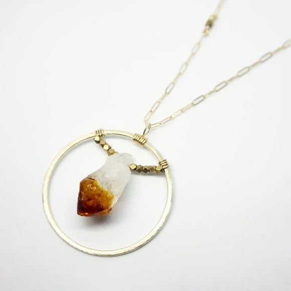 Gold Sun/Silver Moon Necklace with Faceted Accent Beads :: Citrine