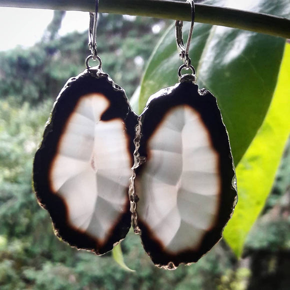 Black and Translucent Agate Slice Earrings #121 by The Vital Element