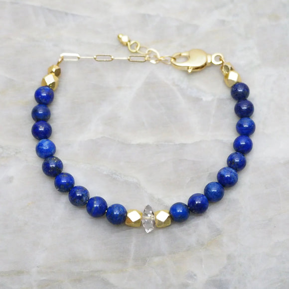 Single Herkimer and Lapis Adjustable Bracelet by The Vital Element