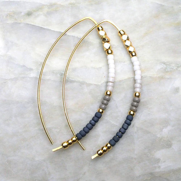 Open Hoop Delicate Beaded Earrings :: Neutral