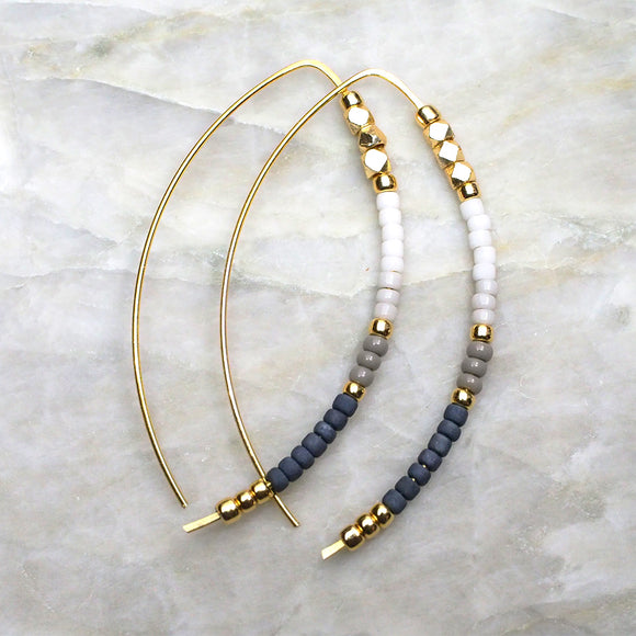 Open Hoop Delicate Beaded Earrings :: Made To Order