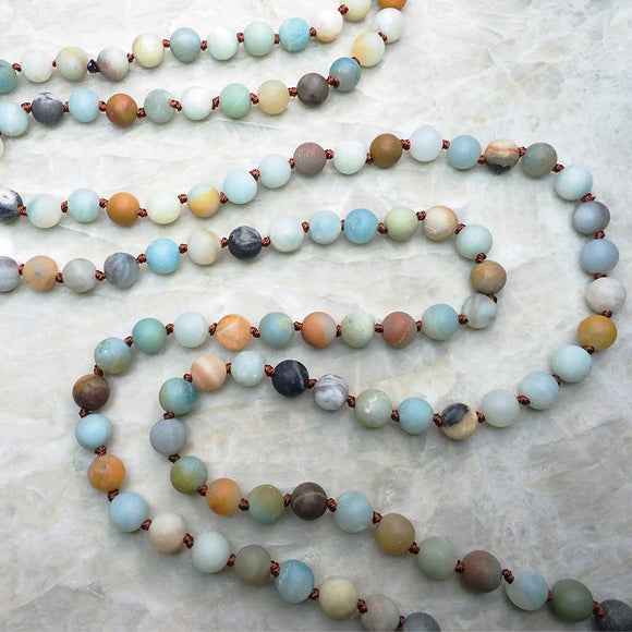 60 inch Hand-Knotted Amazonite Mala Necklace :: The Vital Element