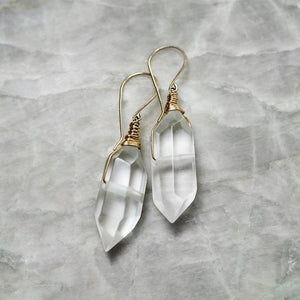 Double-Terminated Quartz Drop Gold Earrings