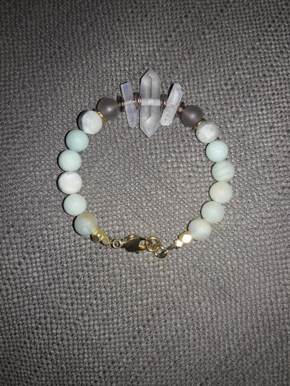 Premium Classic Beaded Bracelet with Aura Quartz Points