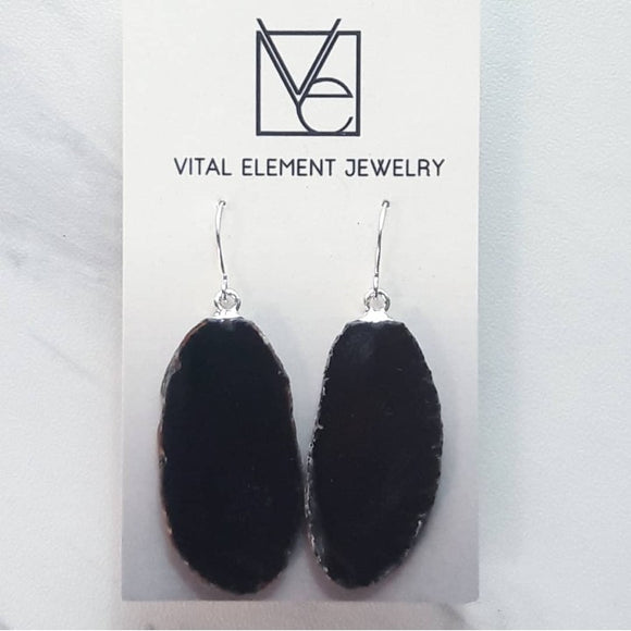 Black Agate Slice Earrings #119 by The Vital Element
