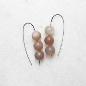 Triple Bead Drop Earrings on Sterling Silver :: Peach Moonstone #032