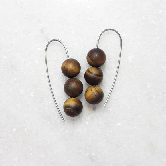 Triple Bead Drop Earrings on Sterling Silver :: Tiger Eye #031
