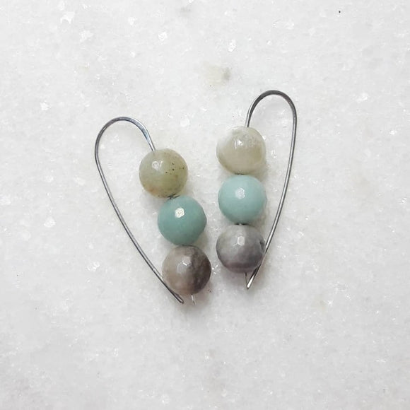 Triple Bead Drop Earrings on Sterling Silver :: Amazonite #027