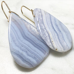 Modern Blue Lace Agate Drops :: Gold Filled Hooks