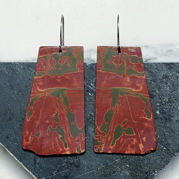 Cherry Creek Jasper Slab Earrings :: Red