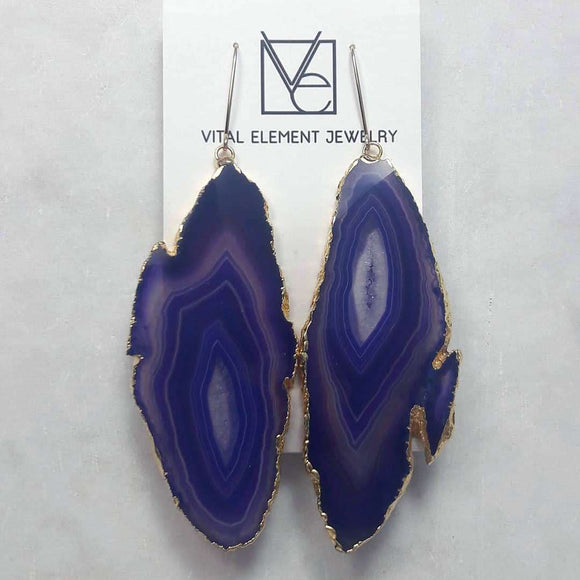Agate Geode Slice Earrings :: #117