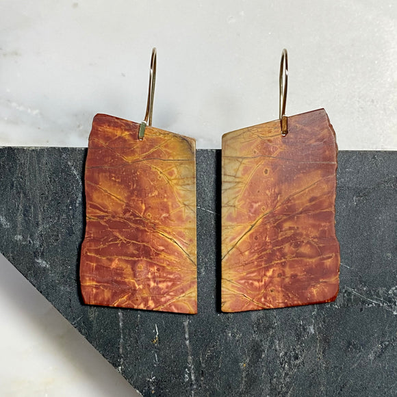 Cherry Creek Jasper Slab Earrings :: Flame