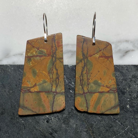 Duotone Brecciated Jasper Slab Earrings