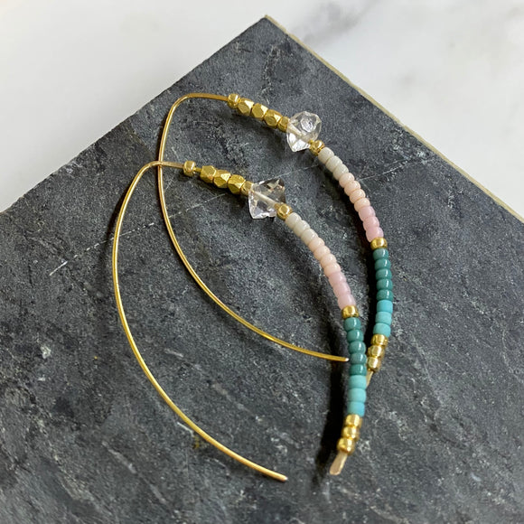Open Hoop Delicate Beaded Earrings With Herkimer