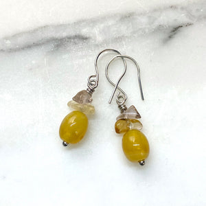 Yellow Swirl Ghana Glass with Citrine and Smoky Amethyst