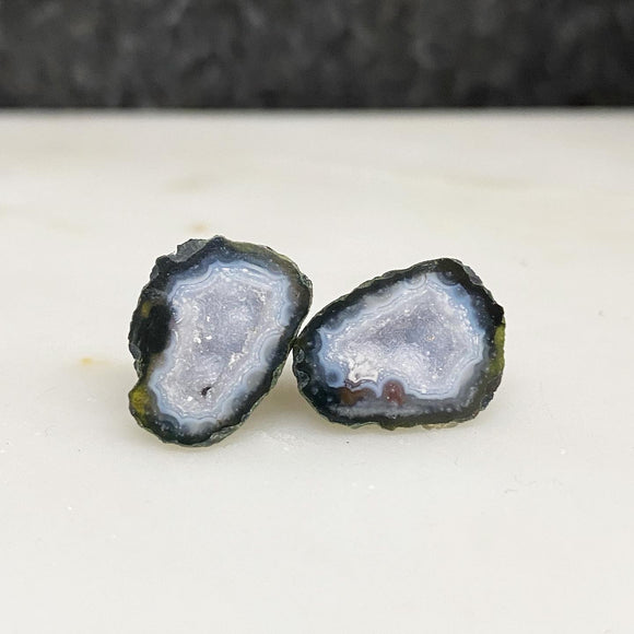 White Banded Tabasco Geode Pair Stud Earrings :: #0031 [Rare]