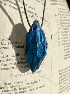 Cobalt Aura Grotado Quartz Necklace