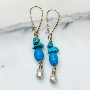 Sea Blue Ghana Glass with Turquoise and Freshwater Pearls