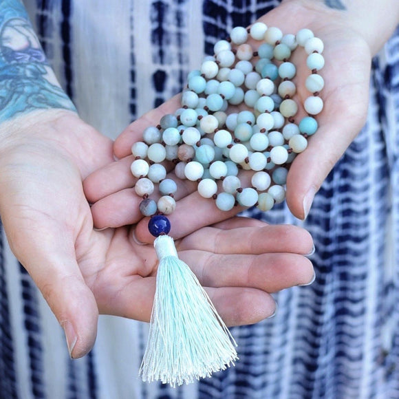 108 Bead Meditation Mala :: Amazonite and Lapis Lazuli