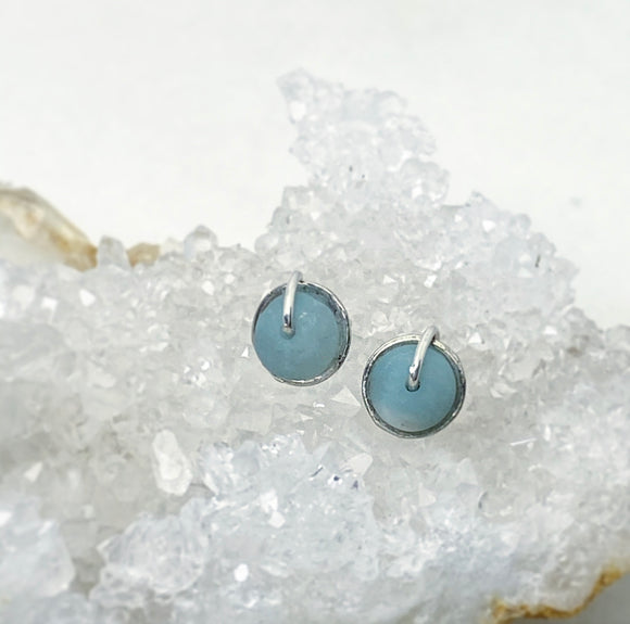 Cupped Amazonite Wrap Studs