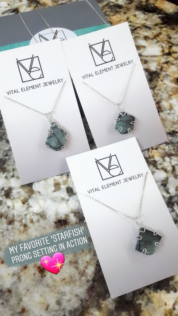 Raw Emerald Slice Necklace