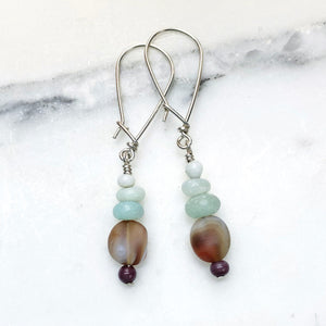 Purple Ghana Glass with Botswana Agate and Amazonite