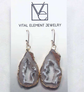 Gilded Occo Geode Slice earrings :: #EOEG113