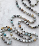 50 inch Hand-Knotted Mindful Mala Necklace in Amazonite :: by The Vital Element