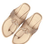 Women Vegan Light Gold Plain Kolhapuri