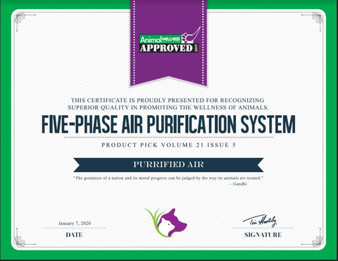 "Purrified Air is recognized by Animal Wellness as a Product Pick for ""Superior Quality in Promoting the Wellness of Animals."