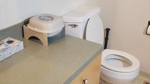 Purrified Air Wall Bracket & Table Top Holder next to toilet