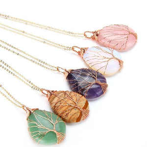 Handgemaakte Tree of Life Crystal drop ketting