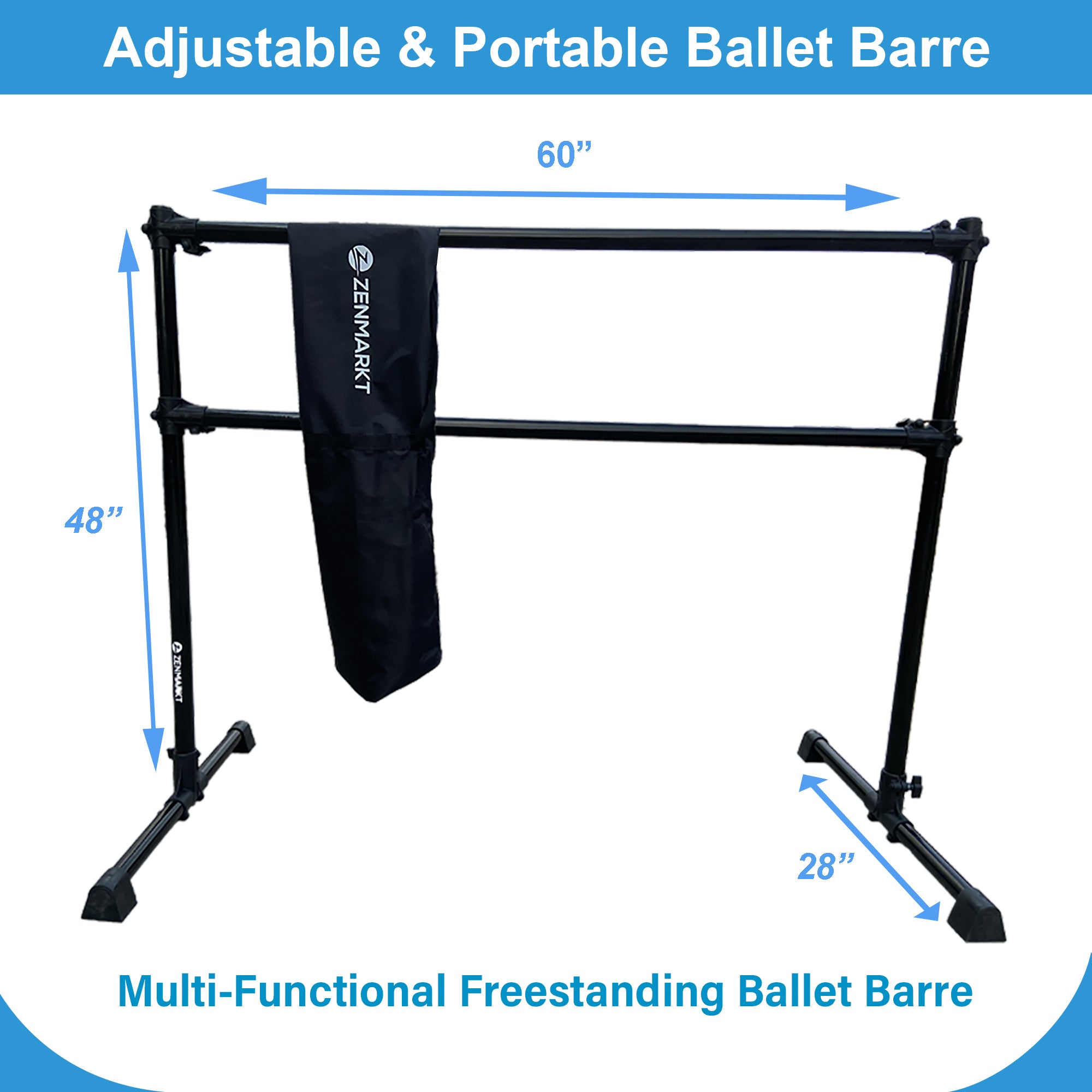 5FT Freestanding Double Aluminum Ballet Barre - Professional Dance Bar Portable Lightweight + Carry Bag