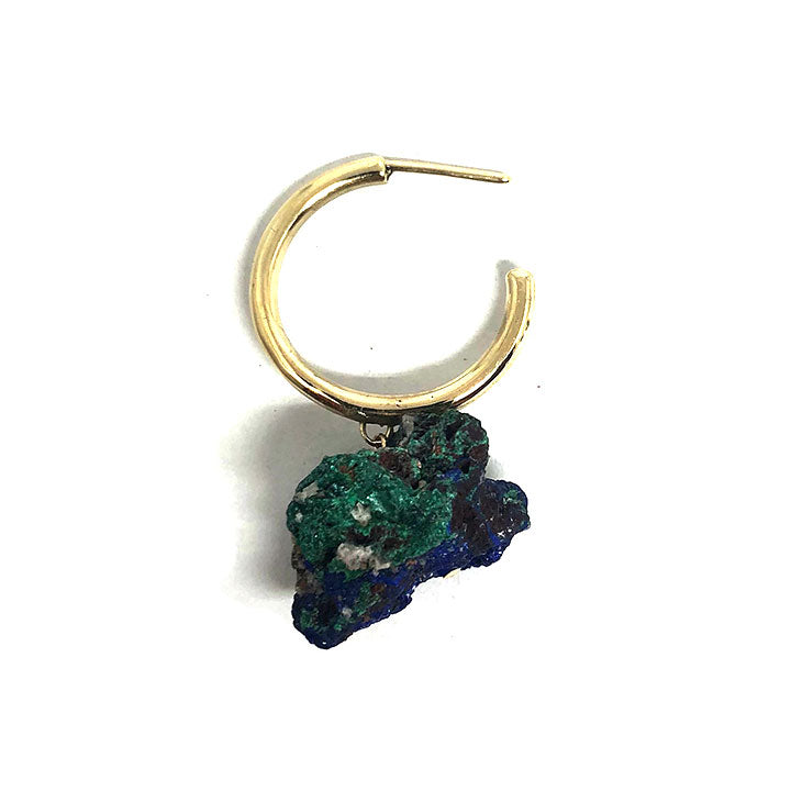 Drooling Hoops - Raw Malachite/Azurite