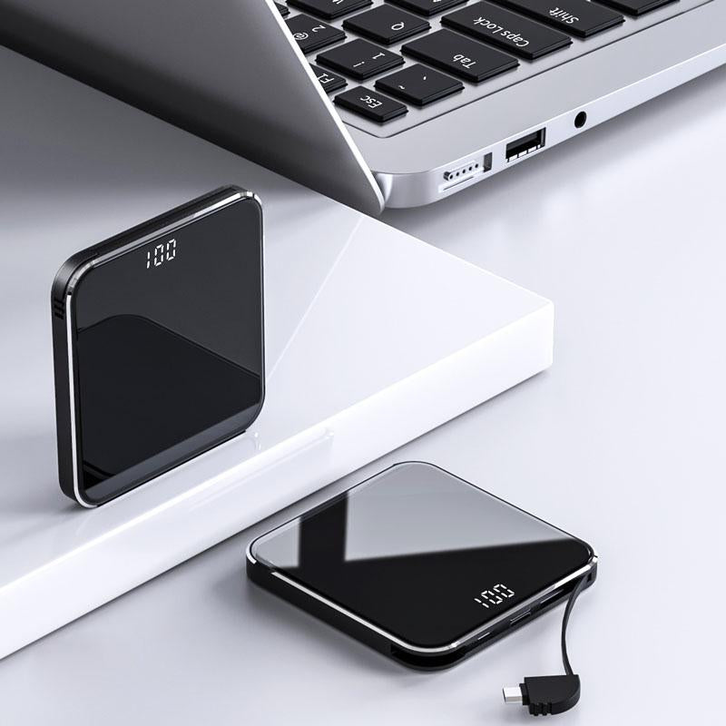 Mini Power Bank 15000mAh Light-weight Design with Wires for iPhone, Samsung Galaxy and More