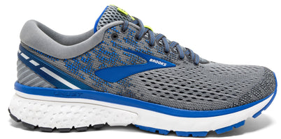 Men's Brooks Ghost 11 Running Shoe Wide Width 2E grey/Blue/Silver 1102882E006