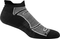 Darn Tough Men's Tab No Show Light Cushion Running Socks - Black/Grey (1722-BLACK/GREY)