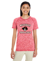 WOMEN'S WELLESLEY T&F TEAM SHORT SLEEVE - TS-WEL-222722-SCARLET HEATHER -