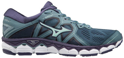 Women's Mizuno Wave Sky 2 Running Shoe Blue Mirage/Purple Plumeria