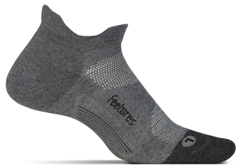 Feetures! Elite Max Cushion No-Show Tab Running Socks - Grey (EC5016)