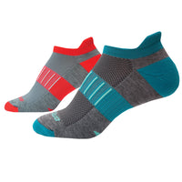 Brooks Ghost Midweight 2 Pack Running Socks - Asphalt/Pacific & Ash/Coral (741543.009)