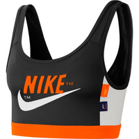 Nike Women's Swoosh Icon Clash Sports Bra  - Black/Safety Orange/Vast Grey/White (CJ0706-010)