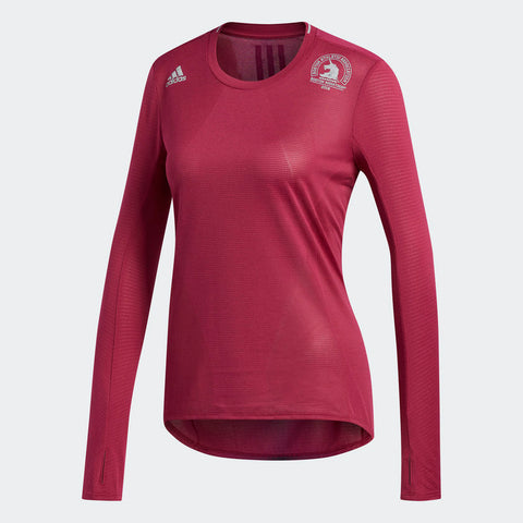 Adidas Women's Boston Marathon® 2018 B.A.A. Supernova Long Sleeve Tee - Mystery Ruby (CW3584)